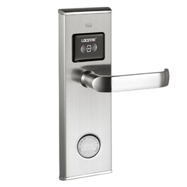 酒店智能刷卡门锁不锈钢面板加合金钢内衬板的复合结构、独特隐蔽是钥匙孔LS-8002-RF 同创新佳智能锁