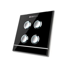 宜居尚雅智能家居四位通用开关独特的夜光指示功能、水晶玻璃面板iksonya SY61004-B/W