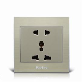BAOBOO宝泊智能家居多功能五孔插座(铝合金面板)优质太空铝拉丝面板、高强度进口PC阻燃材料KG-5K