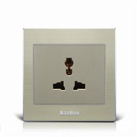 BAOBOO宝泊智能家居多功能三孔插座(香槟金)高强度进口PC阻燃材料、全新原创设计3K-01