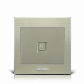 BAOBOO宝泊智能家居一位电脑插座(铝合金面板)优质太空铝拉丝面板、高强度进口PC阻燃材料Z8-01