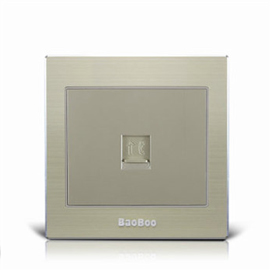 BAOBOO宝泊智能家居一位电话插座(铝合金面板)优质太空铝拉丝面板、高强度进口PC阻燃材料Z8-DH01