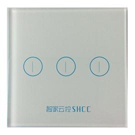 智家云控三位灯光控制器钢化玻璃触控面板、无死角覆盖TY-KG3B01A
