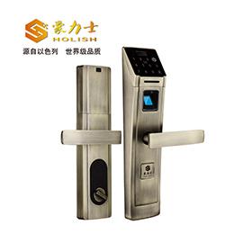 豪力士智能锁指纹密码锁锌合金材质、DC6V(4节5#电池)/DC9V备用钥匙D5688F