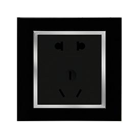 卓居智能家居水晶插座(黑)金属质感的镀铝圈、PC阻燃后座ZJZN-04