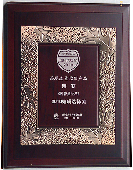 西默流量控制系统2010编辑选择奖