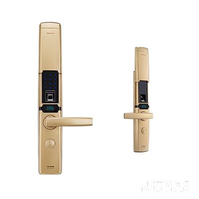施肯洛克智能锁韵系列指纹锁/密码锁、滑盖、香槟金、锌合金面板S-1787