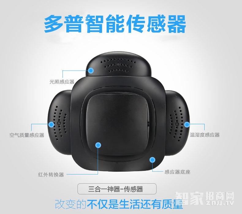 多普智能家居环境传感器家用温度湿度空气PM2.5检测仪手机控制