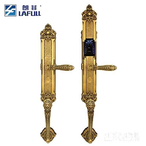 朗菲智能锁指纹锁密码锁滑盖纯铜材质古铜色LF604