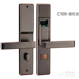 霖峰木门指纹锁不锈钢材质、红古铜颜色C109