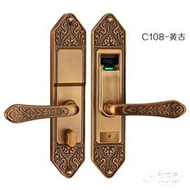 霖峰木门指纹锁不锈钢材质、黄古铜颜色C108