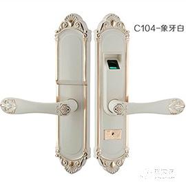 霖峰木门指纹锁不锈钢材质、象牙白颜色C104