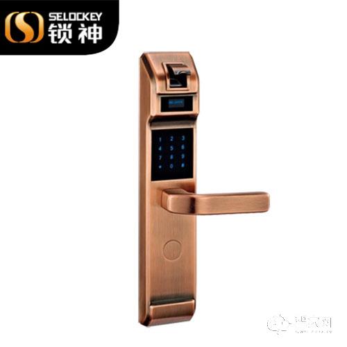 锁神智能锁豪华纯铜指纹锁 密码门锁 防盗电子锁FL12