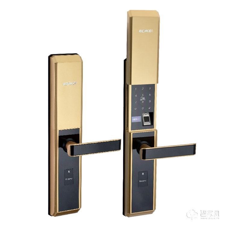 贝可智能锁超B防撬锁芯滑盖指纹锁 家用防盗指纹密码8802
