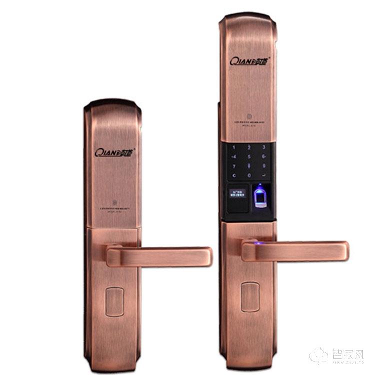 乾锁智能锁办公室公寓滑盖智能门锁 家用防盗指纹锁Q760