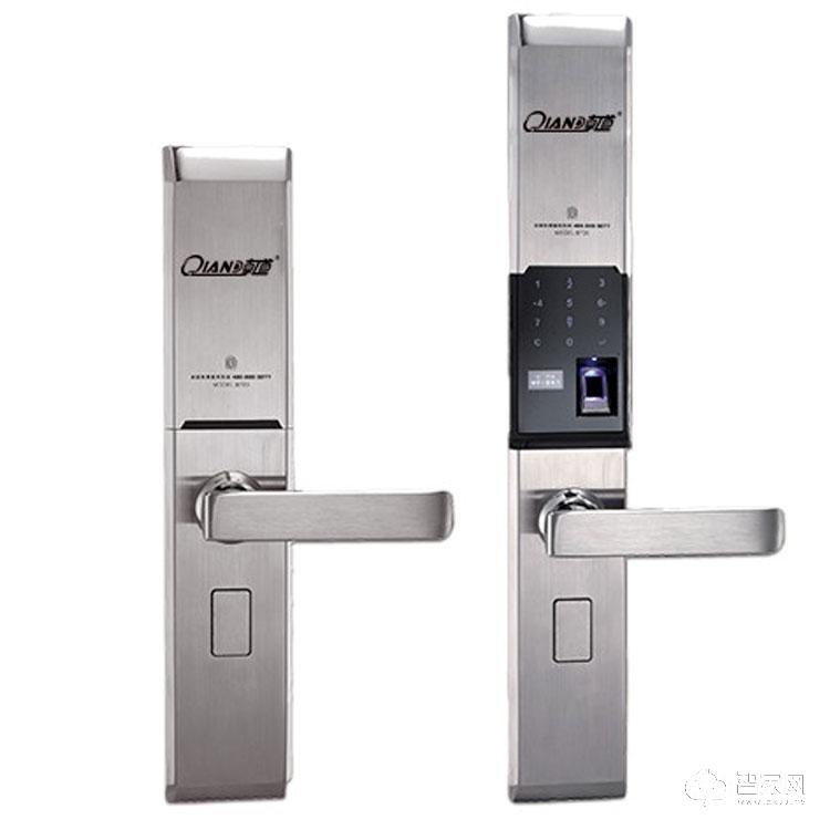 乾锁智能锁不锈钢智能指纹密码锁 滑盖智能电子锁Q720